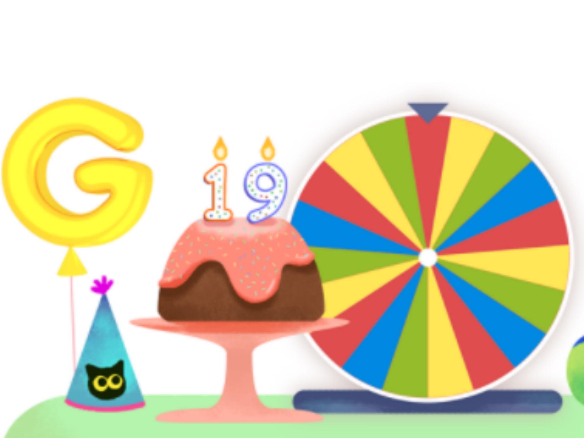 Faites tourner la roue pour l'annniversaire de google
