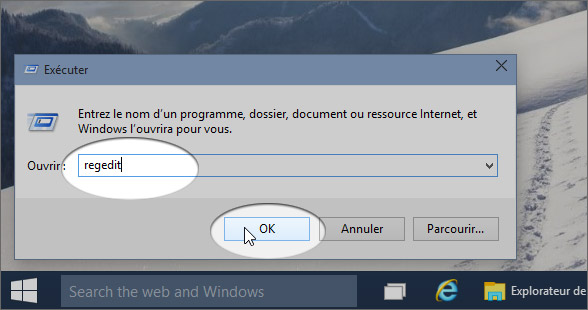 lancer regedit registre windows 10