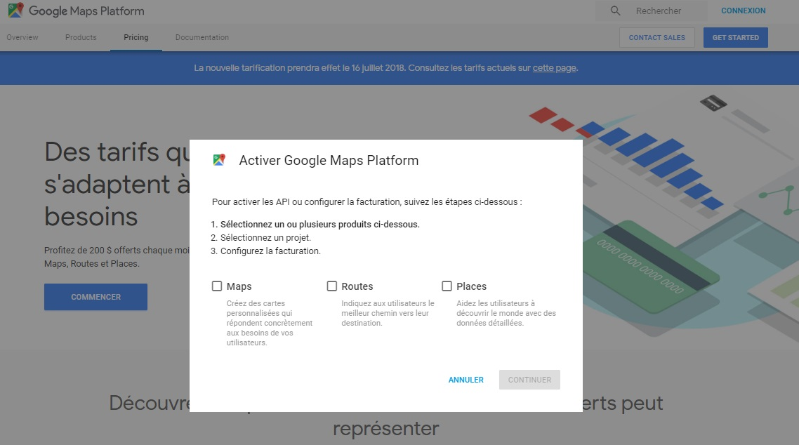 Google Maps prix transition