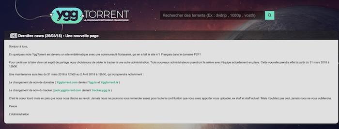 YggTorrent vente