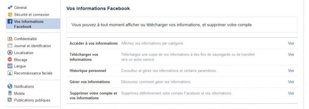 sauvegarder donnees compte facebook